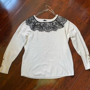 Knit sweater with lace neck